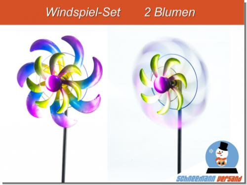 Set 2x Windrad Blüte 25/110 cm Gartenstecker Windspiel Gartendeko Blumenstecker
