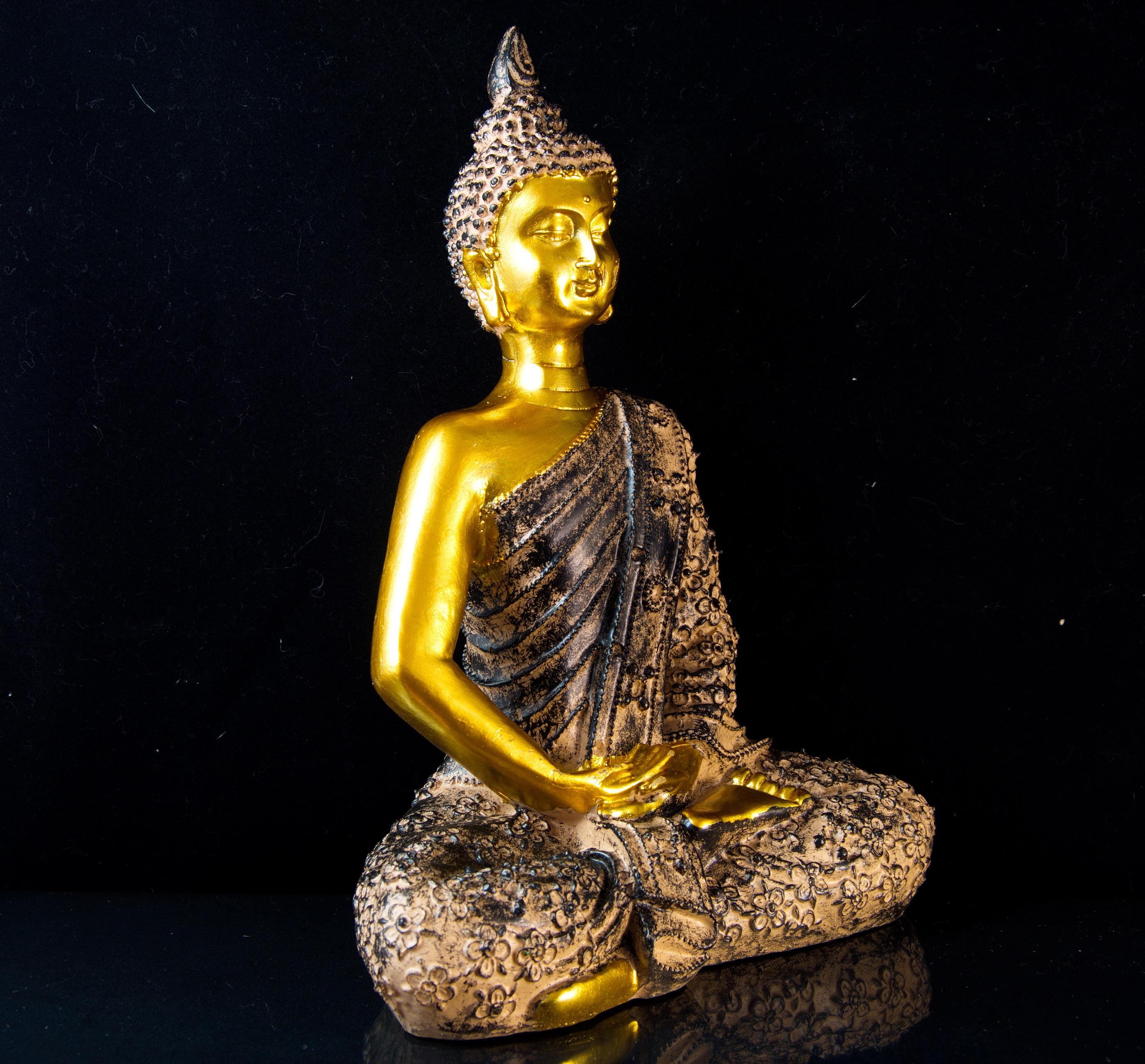 XL Thai Buddha Budda Figur Statue Feng Shui sitzend gold braun ca 35 cm NEU